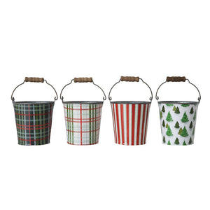 Metal Bucket w/ Pattern & Wood Handle (4 styles)