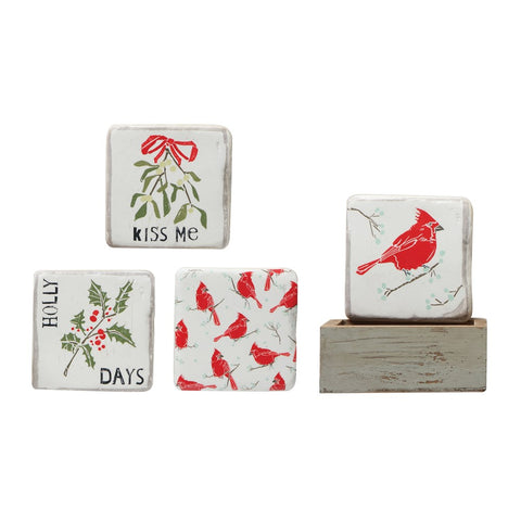 Square Resin Coasters in Wood Box, Set of 4