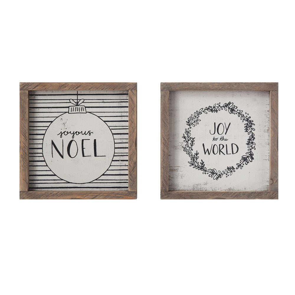 Square Wood Framed Wall Decor w/ Holiday Saying, Cream & Black (2 Styles)
