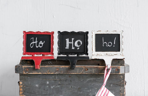 Pewter Stocking Holder w/ Chalkboard, 3 Colors