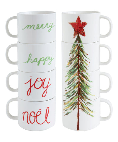 Christmas Tree & Word Stoneware Stacked Mug (Set of 4)