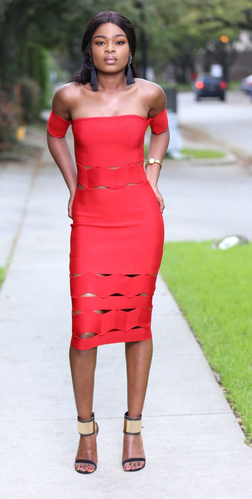 Sexy Red bandage bodycon off the shoulder evening party dress.