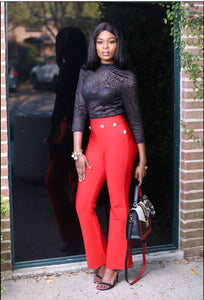 Red elegant bandage bodycon pant.