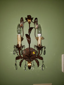 Metal 2-light wall sconces
