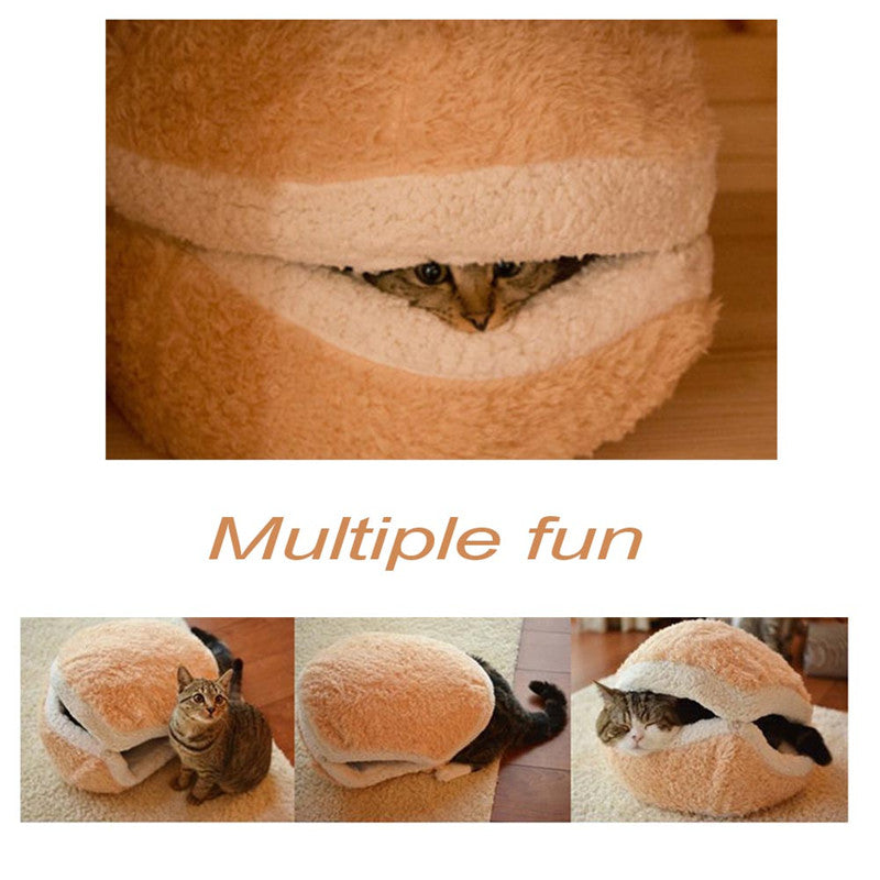 Hamburger Shape Super Soft Cat Bed Cat House Pet Products Detachable Cover Plush Material Foam Filler Pet Sleeping Bag For Cats