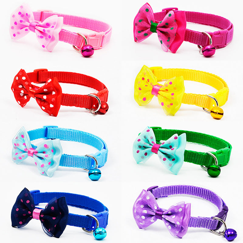Cute Pets Adjustable Polyester Dog Collars Puppy Pet Collars with Bowknot and Bells Necklace Collar For Dogs Cat collars perro