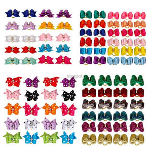 Cute Handmade Dog Hair Bows With Rubber Bands Small Bowknot Cat Puppy Grooming Accessories For Dogs Charms Gift Mix Styles