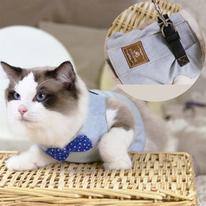 RFWCAK Pet Cat Dog Harness Safety Walking Cat Collar Leash Pet Traction Elegant British Style Cute Jacket Leash