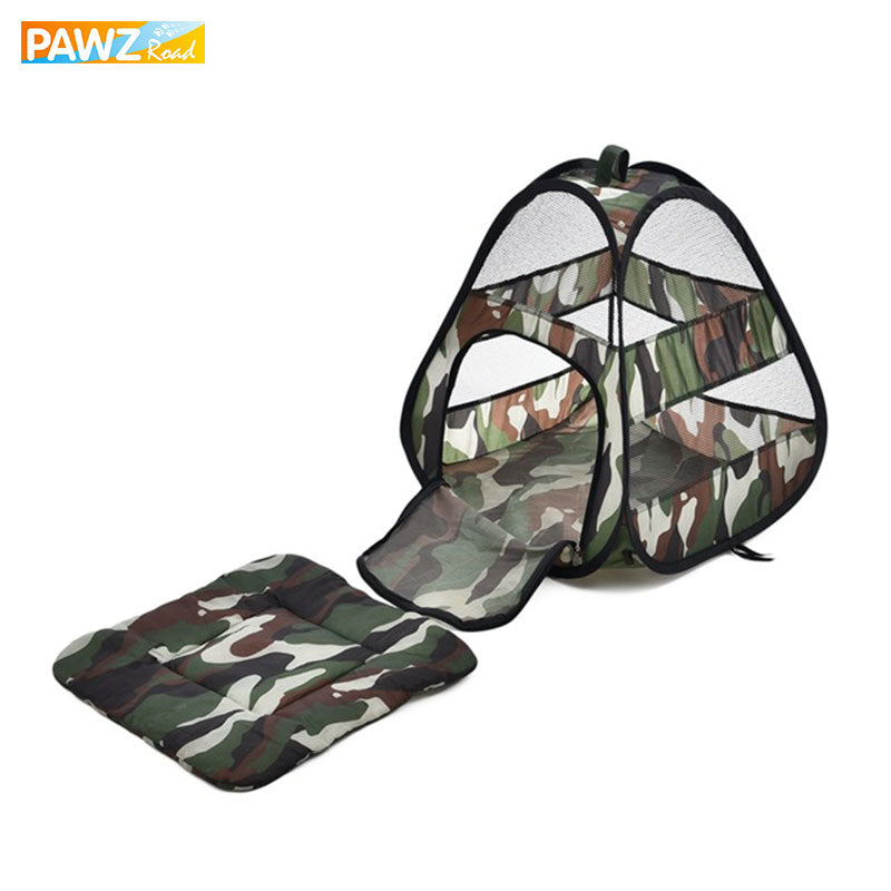 PAWZRoad Pet Camouflage Cat Bed Mat Breathable Cat Kitten Tent Travel Collapsible Easy Storage Bed For Small Animal Ferret House