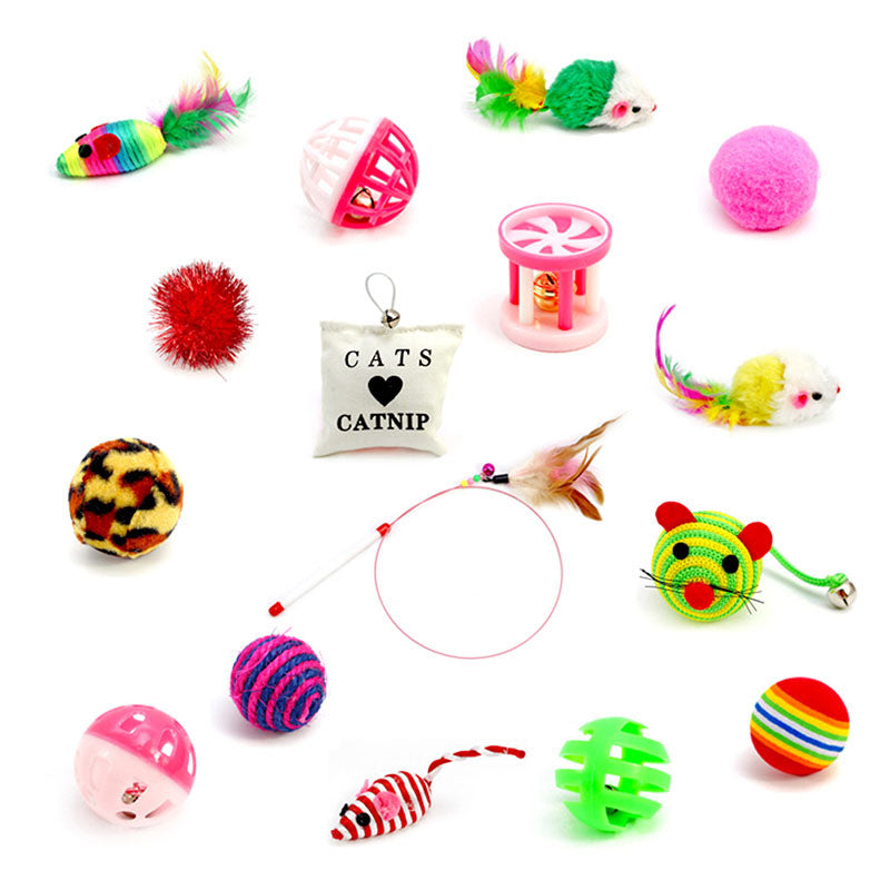 16PCS/Set Variety Pack Cats Funny Mouse Toys Catnip Sisal Balls Gift Value Feather Sets For Small Cat Pet Supplies Toy Set