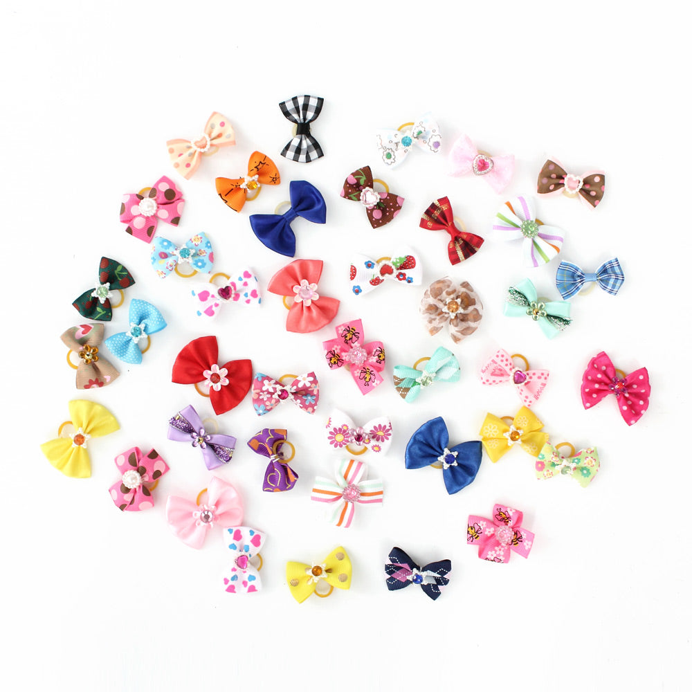 20/50/100 Pcs Handmade Pet Grooming Accessories Products Dog Bow 6011026 Hair Little Flower Bows For Small Dogs Charms Gift