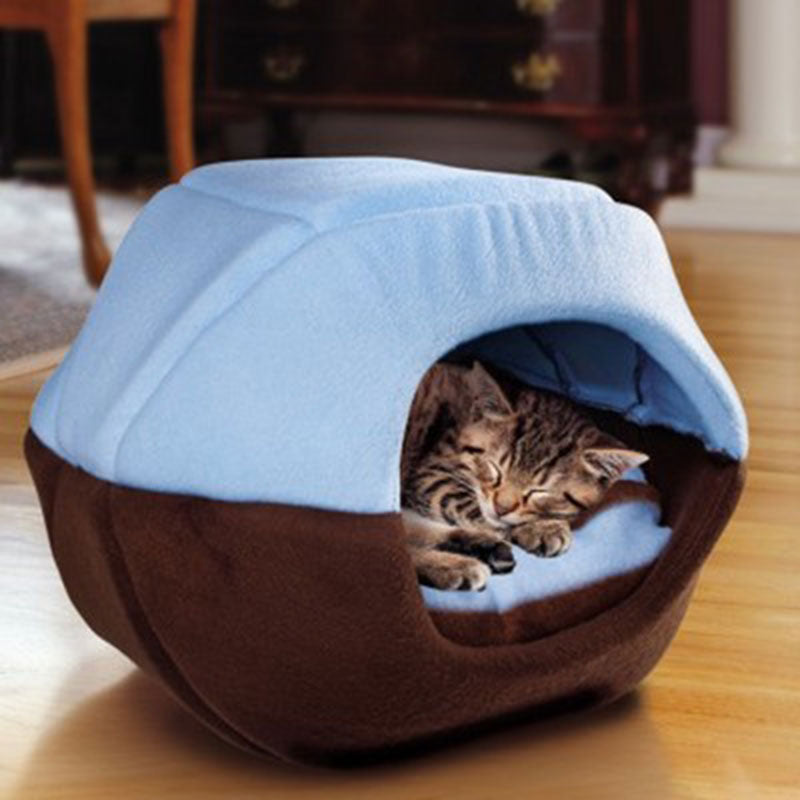 Winter Cat Dog Bed House Foldable Soft Warm Animal Puppy Cave Sleeping Mat Pad Nest Kennel Pet Supplies E2S