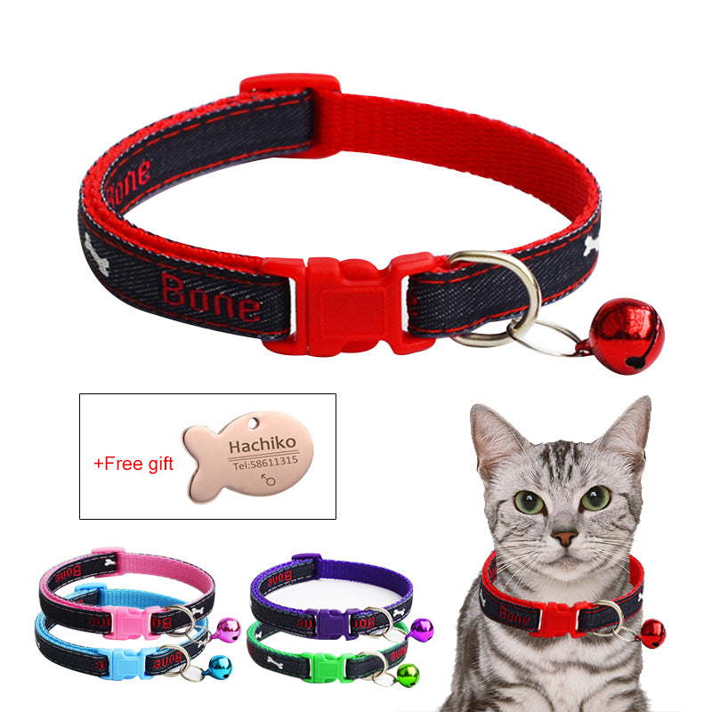 YVYOO PET Dog Collar With bell Puppy Cat Pet Collars For Small Medium Dogs Free Gift Personalized Engraved ID Tag U09