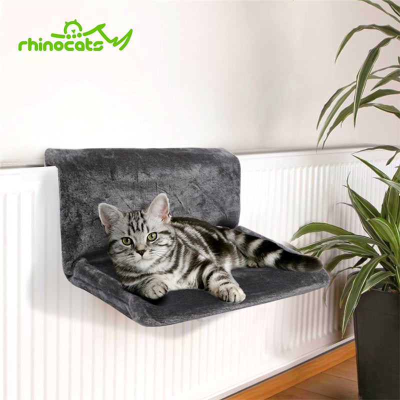 Rhinocats Cat Hammock Radiator Window Bed Lounger Bearings Cushion Cama Gato Adjustable Warm Shelf Seat Rest House for Pet Cats