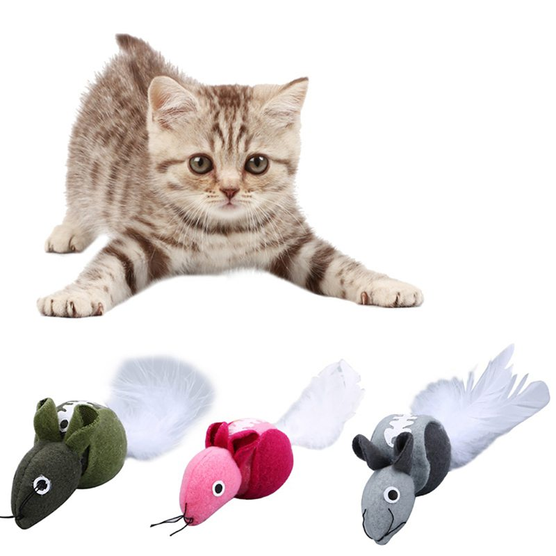 Toys For Cats Catnip Toys Plush Feather Mouse Cats Toy 3 Color Funny Training Play Interactive Toy For Cats