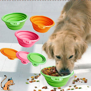 New Pet Dog Water Food Feeding Bowl Travel Folding Retractable Silicon Gel Bowl