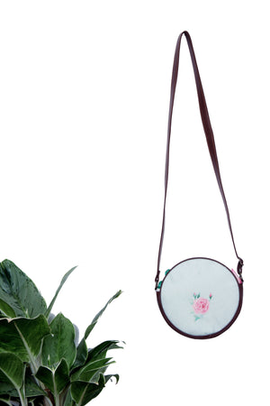 Round Sling Bags In Linen And Faux Leather - Tina Eapen Design Studio