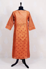 Semi Stitched  Rust  Chanderi Silk Kurtha With Dupatta Hand Block Print - Tina Eapen Design Studio