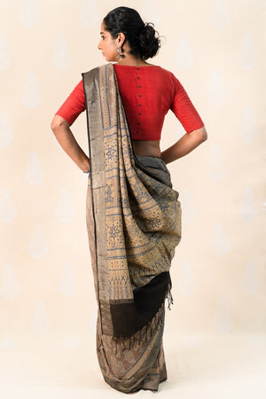 Clay Khadi cotton with Ajrakh Print - Tina Eapen Design Studio