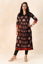 Long Madder Cotton Ajrakh Kurta with Pin Tucks - Tina Eapen Design Studio