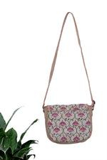 Sling Bags In Handbock Printed Cotton And Jute - Tina Eapen Design Studio
