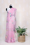 ONION PINK COTTON SAREE  WITH WATER COLOR FLOWERS - Tina Eapen Design Studio