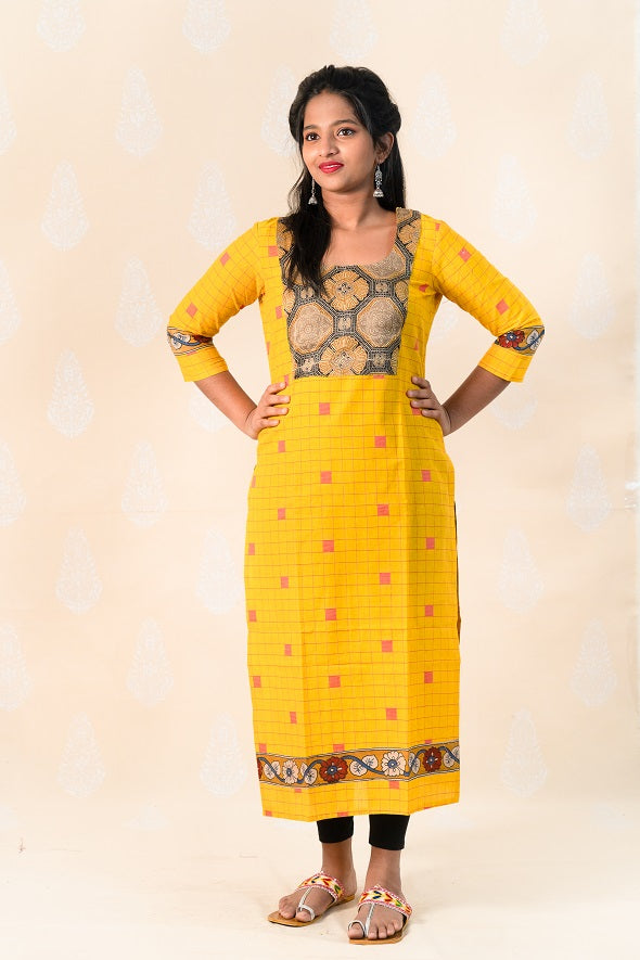 Long Yellow Chettinad Cotton Kurta with Ajrakh - Tina Eapen Design Studio