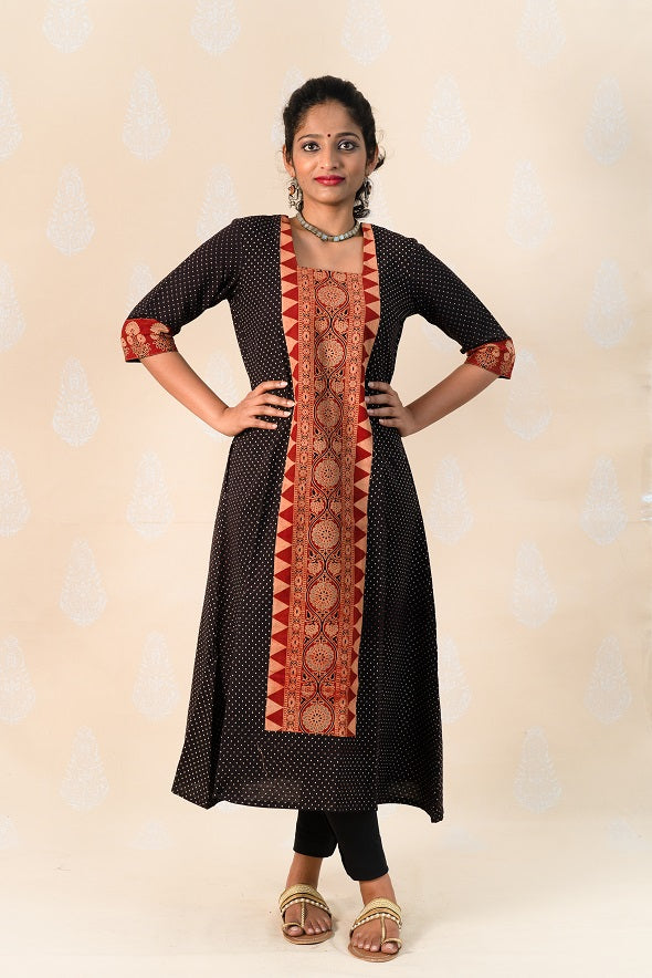 Long Madder Cotton Ajrakh Kurta - Tina Eapen Design Studio