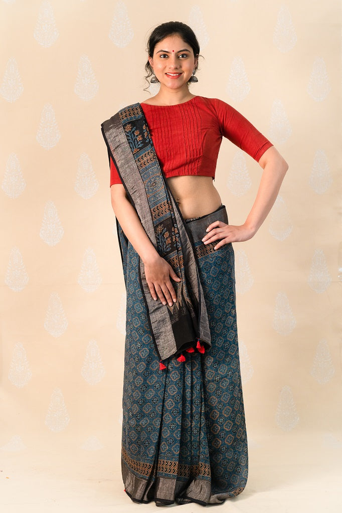 Indigo Linen saree with Ajrakh Prints - Tina Eapen Design Studio