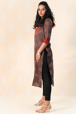 Long Earth brown Cotton Ajrakh Kurta - Tina Eapen Design Studio