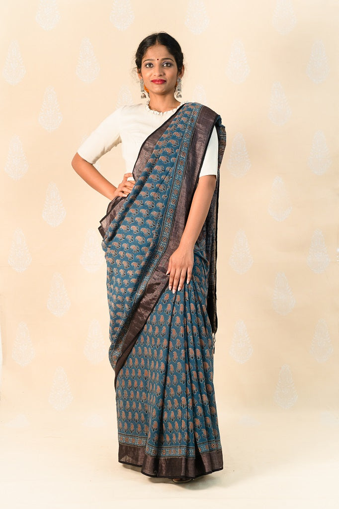Indigo Khadi Cotton Saree with Ajrakh Prints - Tina Eapen Design Studio