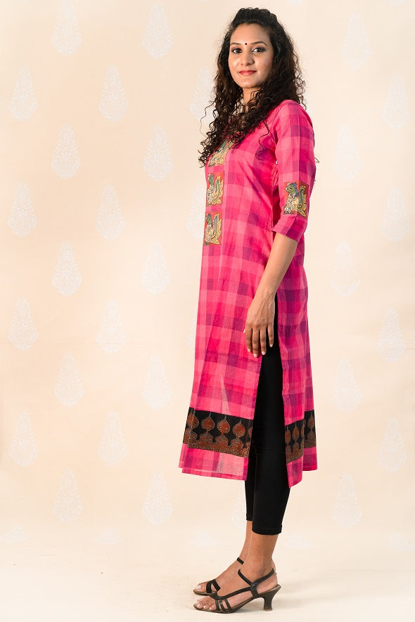 Long Pink Chettinad Cotton with Ajrakh - Tina Eapen Design Studio