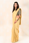 Organic Mustard Yellow Khadi cotton saree with Ajrakh blouse - Tina Eapen Design Studio
