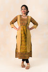Long Mustard Cotton Ajrakh Kurta - Tina Eapen Design Studio
