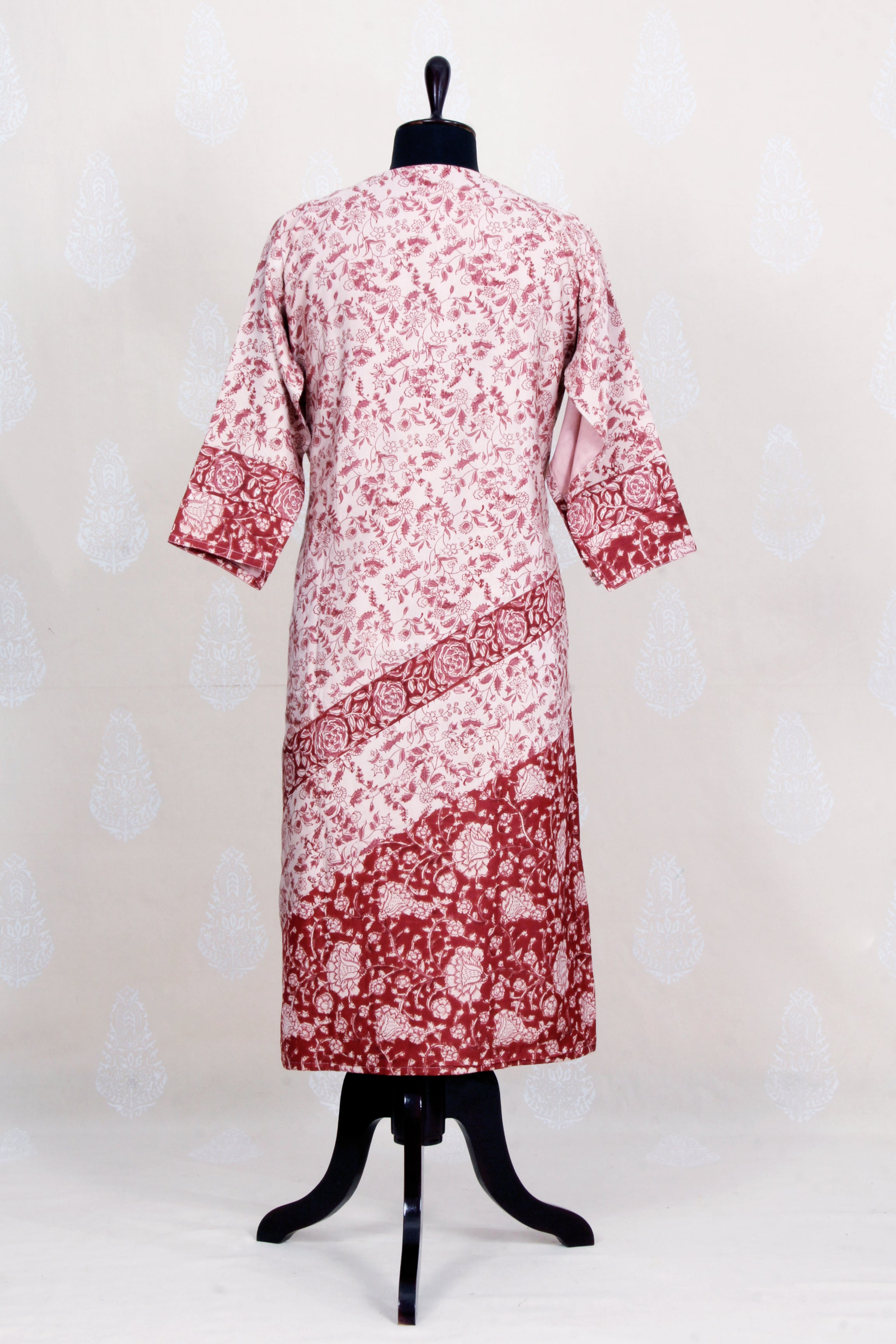 Hand Block Printed Silk Semi Stitched Kurtha In Organic Dye -madder - Tina Eapen Design Studio