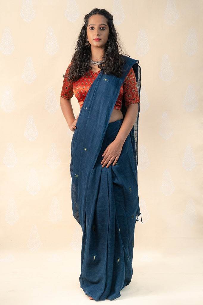 Organic Indigo Khadi cotton saree with Ajrakh blouse - Tina Eapen Design Studio