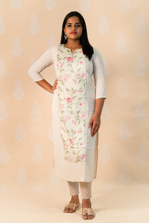 Beige Crape Kurta with Floral Prints - Tina Eapen Design Studio