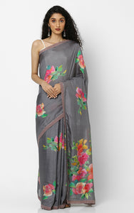 PURE SILK SAREE IN GREEN AND RED FLOWERS