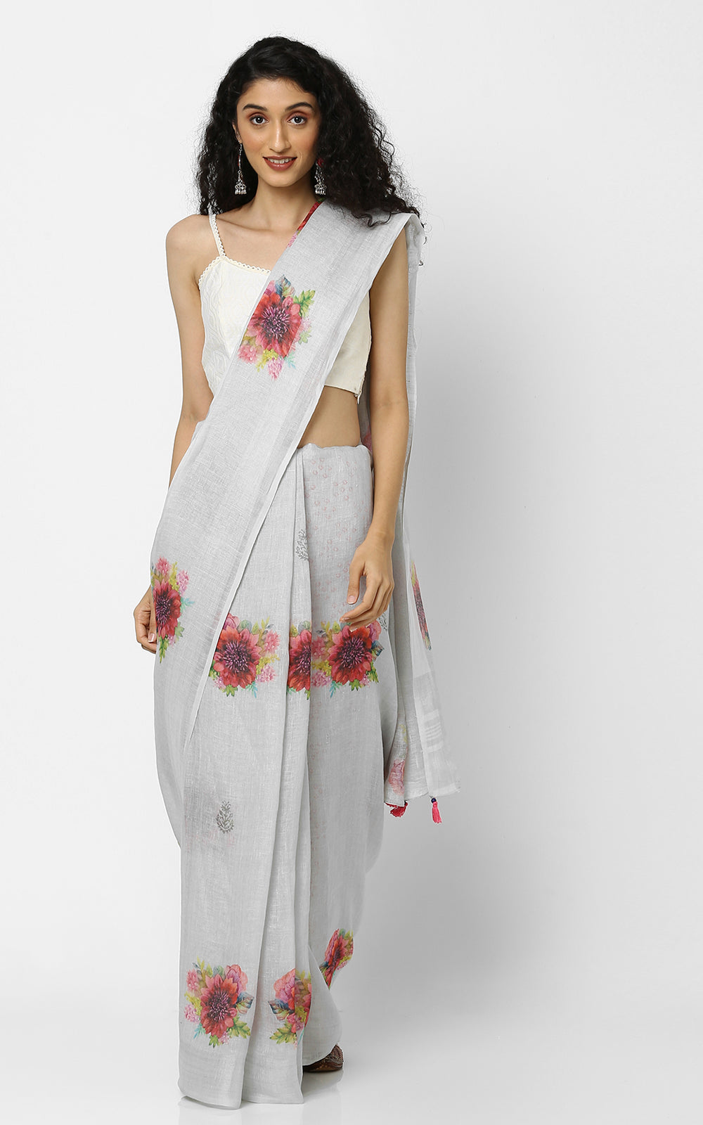 GREY LINEN SAREE WITH RED ROSES