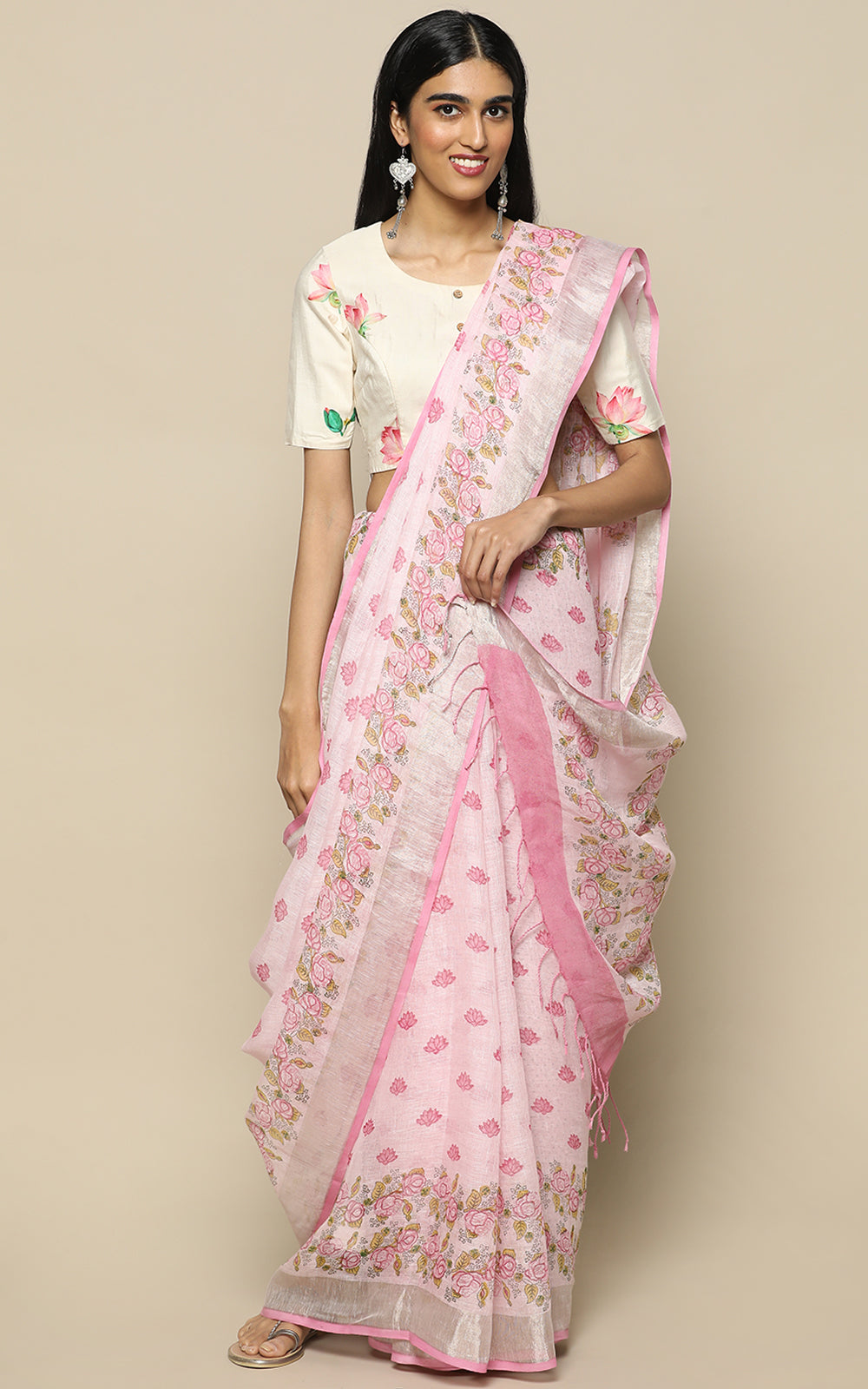 LIGHT PINK LINEN SAREE WITH HAND BLOCK PRINTS
