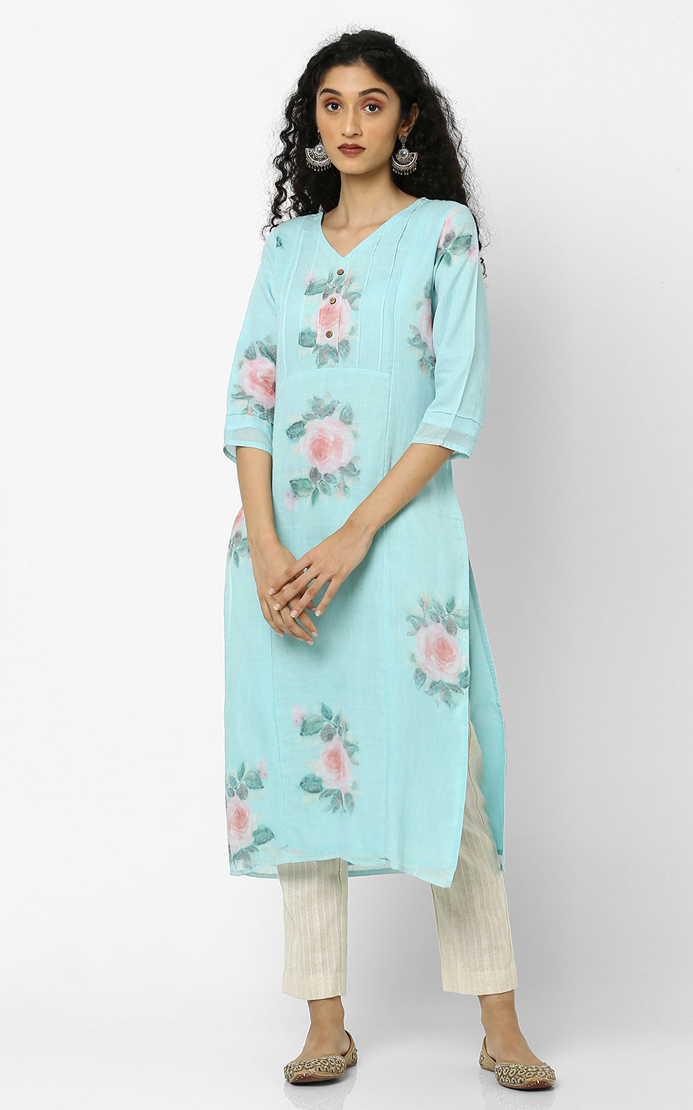 Red Roses Blue Floral Kurtas