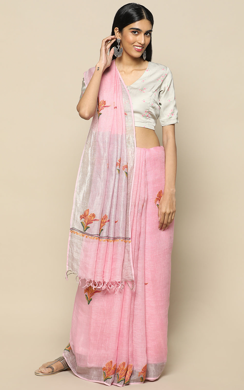 PASTEL PINK LINEN SAREE WITH KASHMIRI HAND EMBROIDERY