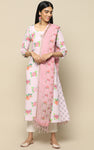 EVENING ROSE LINEN PRINTED  KURTHA WITH PRINTED DUPATTA
