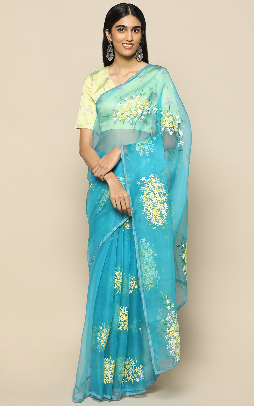 TURQUOISE BLUE ORGANZA SILK SAREE WITH HAND PAINTED FLOWERS