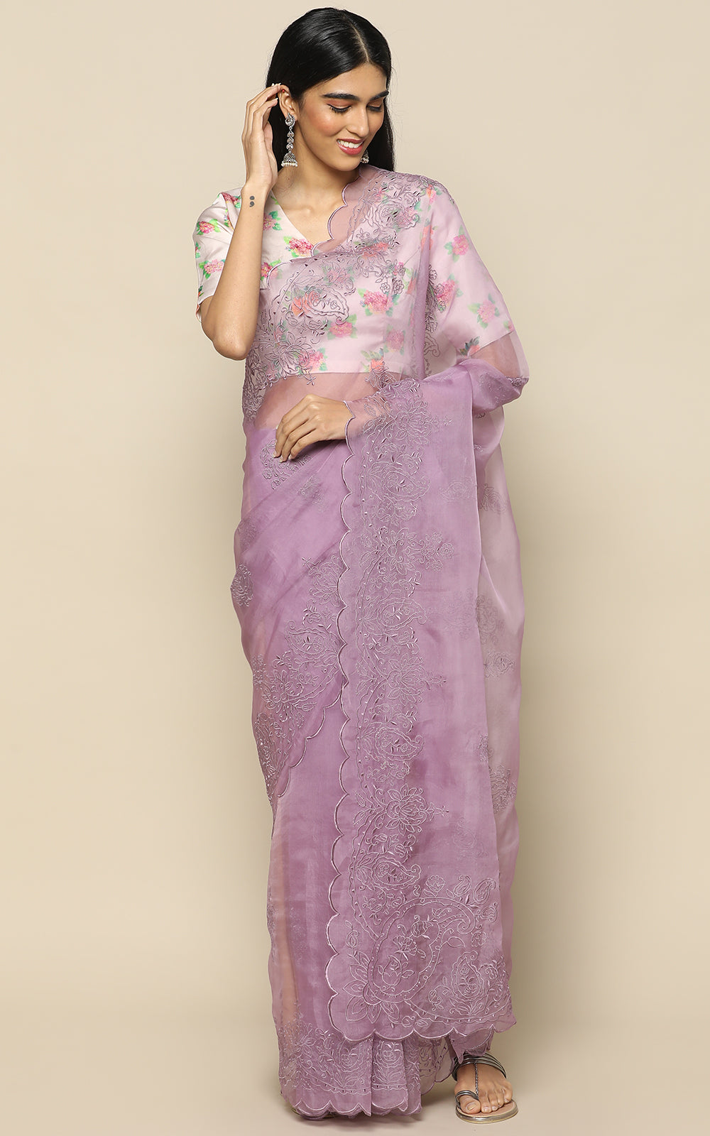 LILAC ORGANZA SAREE WITH SELF COLOR EMBROIDERY