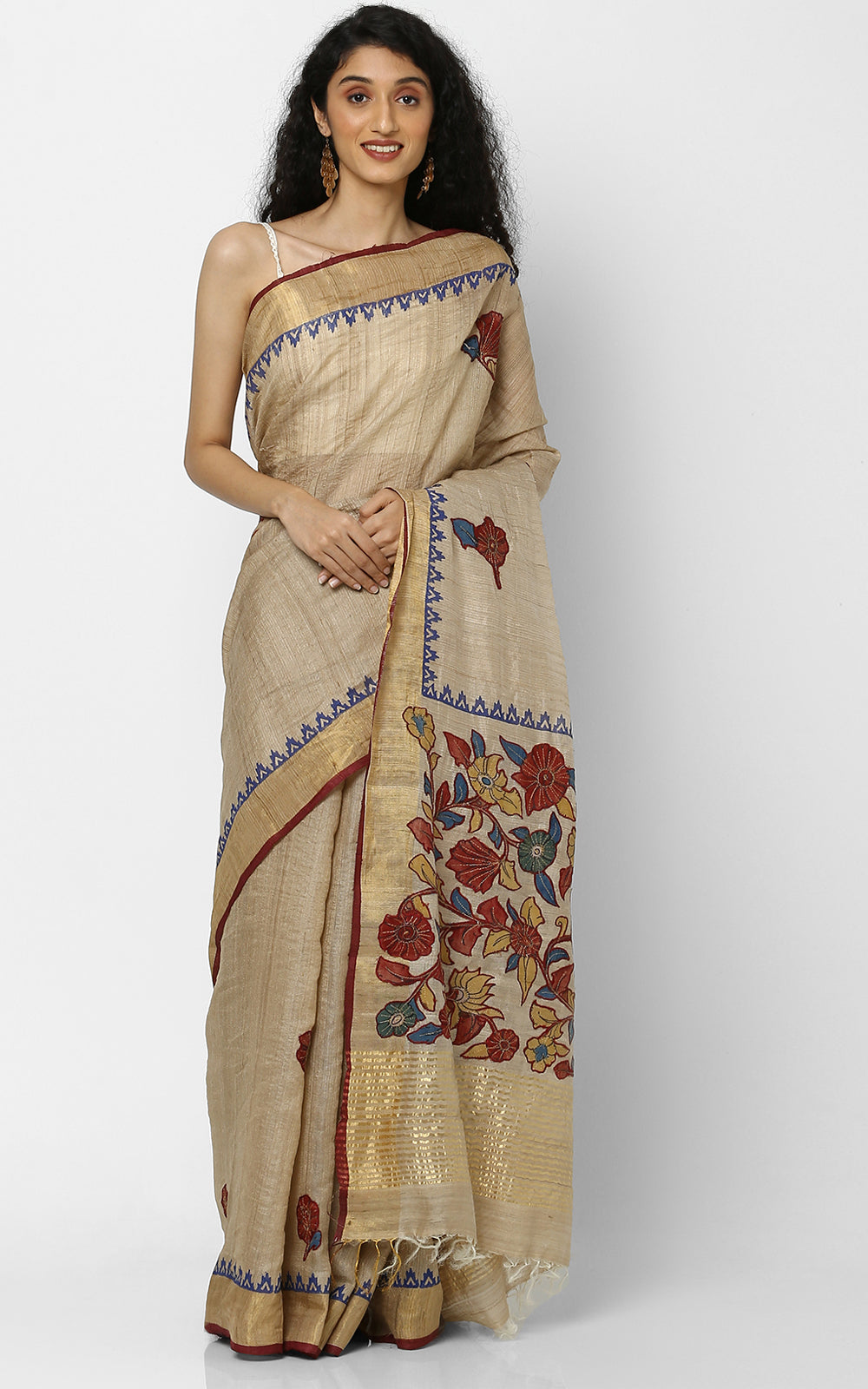 DESI TUSSAR SILK SAREE WITH KALAMKARI APPLIQUE
