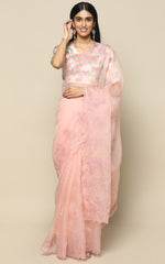 LIGHT PEACH ORGANZA SAREE WITH SELF COLOR EMBROIDERY
