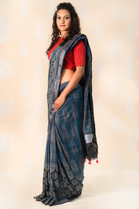 Indigo handloom cotton saree with Ajrakh prints - Tina Eapen Design Studio