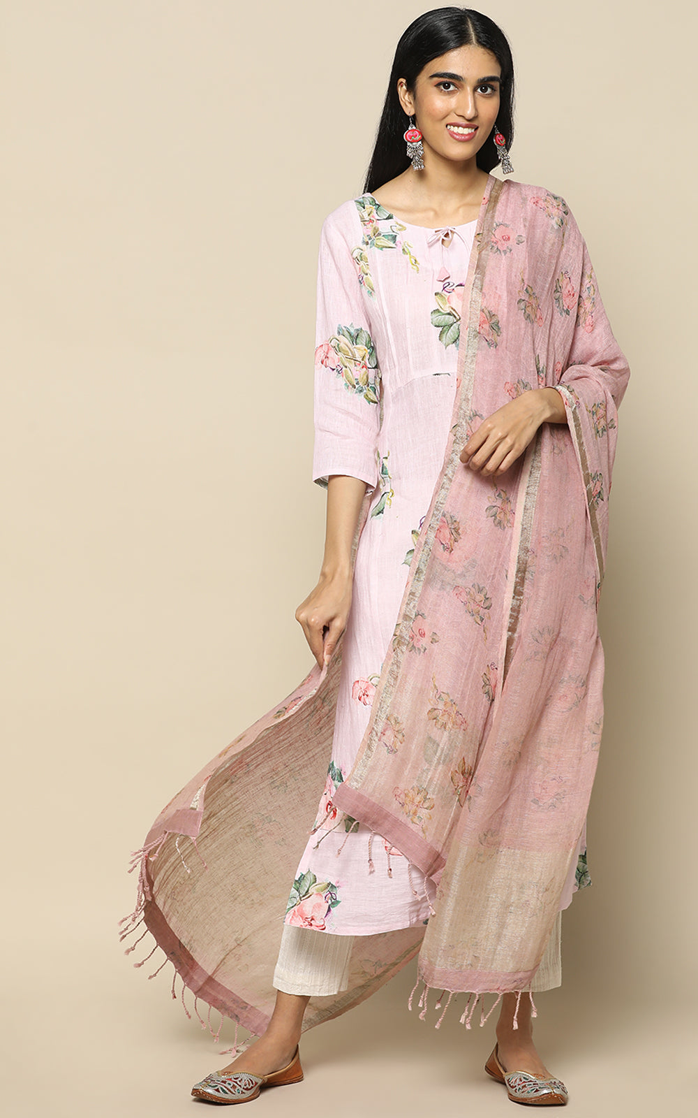ONION PINK LINEN PRINTED KURTHA WITH LINEN PRINTED DUPATTA