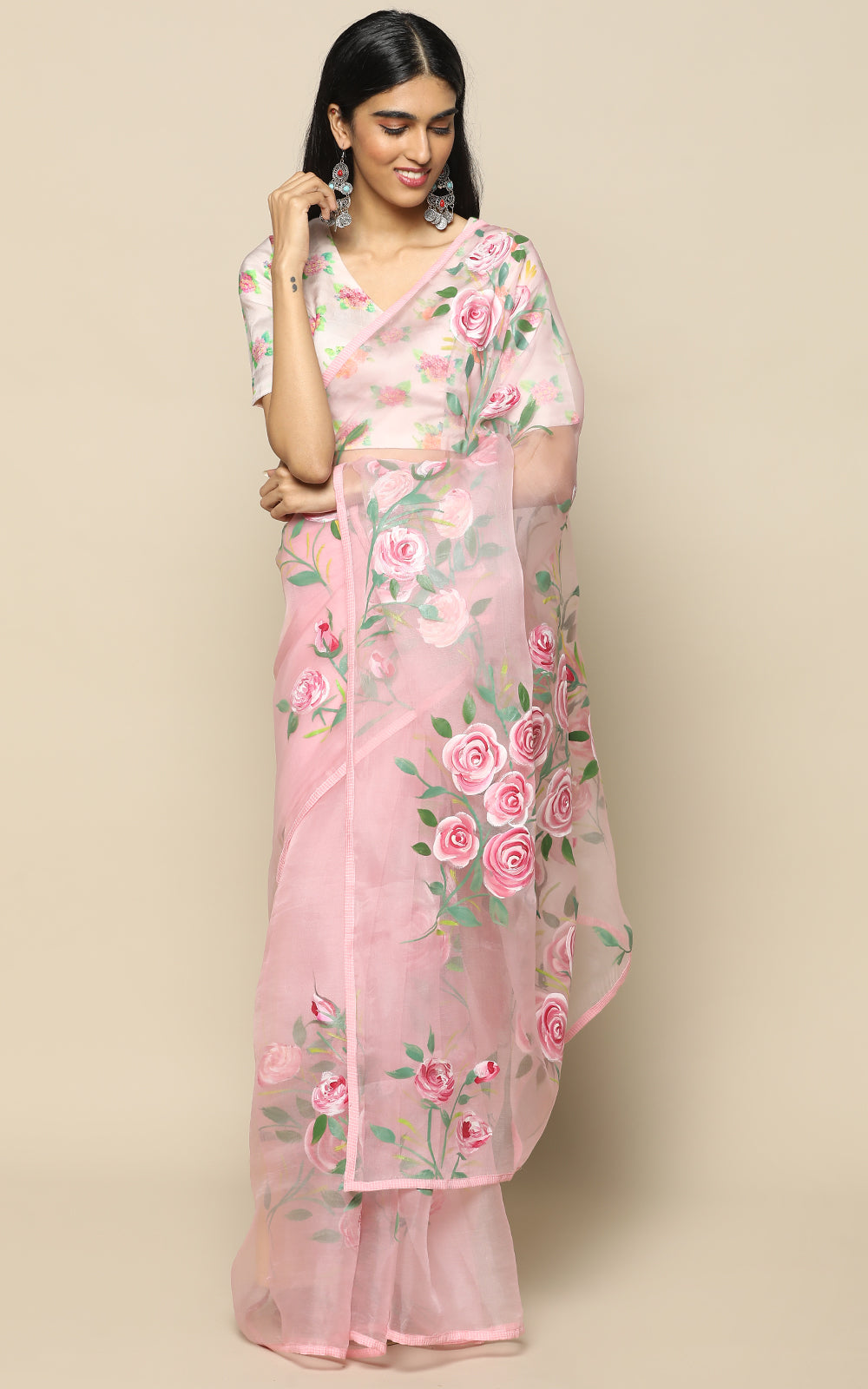 POWDER PINK ORGANZA SILK SAREE WITH PASTEL HANDPAINTED FLOWERS